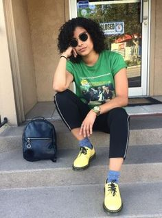 Genesislugoo wears the yellow 1461 shoe. Dr Martens Style, Laura Marling, Agyness Deyn, New Soul, Doc Martens, Wardrobes, Don't Care, Grunge, Natural Hair Styles