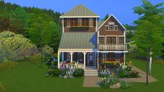 Mod The Sims - TopWater Lodge Furnished Completely CC Free Sims 4 Houses Layout, House Layouts, Sims 4 House Design, Sims House, House Meme, The Sims 4 Lots, Lakeside Lodge, Sims 4 House Building, Cartoon House