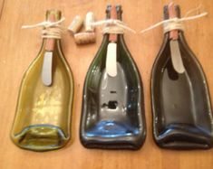 These beautiful, upcycled wine bottles are handcrafted and the perfect serving dish for dips or nuts. Great housewarming or bridal gift! Includes a stylish wooden handled cheese spreader. This listing is for ONE upcycled wine bottle serving dish. Recycled Wine Bottles, Wine Bottle Crafts, Recycled Glass, Bottle Art, Melted Wine Bottles, Glass Bottles, Bottle Slumping, Slumped Glass, Fused Glass