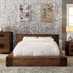 Janeiro Rustic Natural Tone Finish Bed Frame Set
