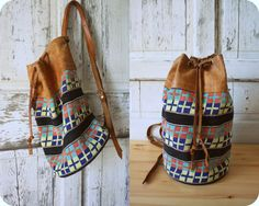 Vtg Drawstring Tapestry & Leather Backpack by houseofsparrowvtg