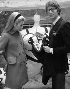 Catherine Deneuve with Yves Saint Laurent at his inauguration store in Paris, France – September 1966