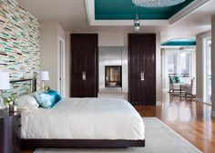 I like the colorful ceiling panel.  Could make a section in bedroom ceiling using trim and paint a different color inside it.