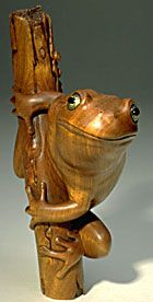 Janel Jacobson. #330 Ready!, 2000  Boxwood  Eye Inlay: Amber, Gold Leaf    Dimensions:  3.3 x 1.06 x 2.7 inches  8.4 x 2.7 x 6.8 cm