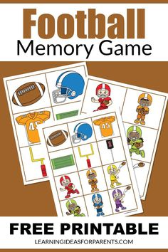 Help your child learn about football with this easy memory game. Includes 12 fun pictures related to the sport. Sorting Games, Memory Games For Kids, Different Games, Game 4, T Play, Game Pieces, Matching Games, Educational Activities, Free Games