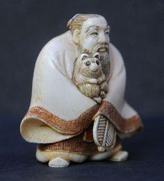 Antieke netsuke ivory Tanuki – Japan –  eind 19e eeuw