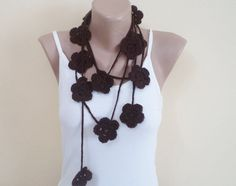 Handmade scarf with flowers. new fashion  dark by BloomedFlower, $20.00