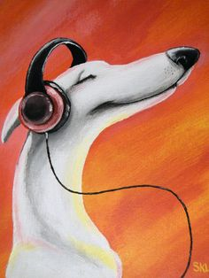 SOUND HOUND Whippet Original Painting. $50.00, via Etsy.
