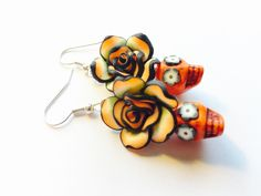 Day of the Dead Rose and Sugar Skull Earrings in Orange and Black by PennysLane on Etsy