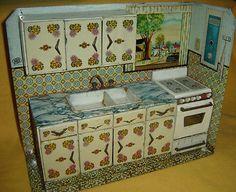 Antique Kitchen Litho TIN TOY Argentina 1950 Rare Artwork Saxo Vintage Tinplate