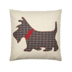 Natural applique Scotty dog cushion
