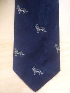 Vintage Chipp New York New Haven Navy Blue German Shepard Dog Neck Tie Necktie