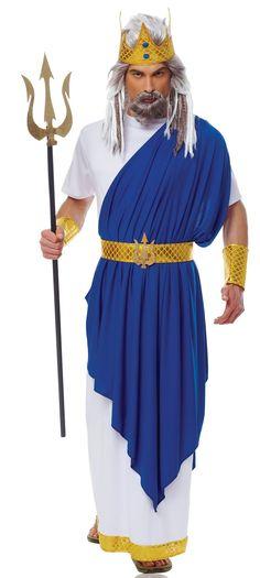 King Neptune Costume Mens Roman Greek God Blue Fancy Dress Poseidon Outfit: Amazon.co.uk: Clothing