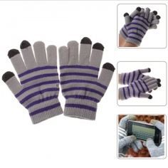 Convenient Gloves for Touchscreen with Touchscreen-material in 3 Fingers (Gray with Purple )-everbuying.com$3.18