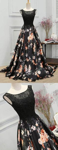 Fashion Lace-Up Black Lace Floral Satin Prom Dress #promdresses#eveningdresses#promdresses2018#floralpromdresses#promgowns#lacepromdresses#promdressesonline