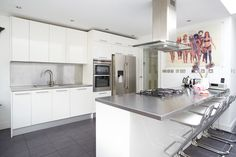 modern kitchen w/ stainless steel countertops & backsplass