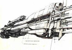 Syd Mead Futurism Sulaco Redesign Line Drawing (Simotron, 2013)
