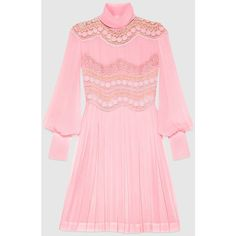 Gucci Silk Georgette Dress ($6,980) ❤ liked on Polyvore featuring dresses, ready to wear, women, zip back dress, light pink dress, pink dress, silk georgette dress and pleated dress