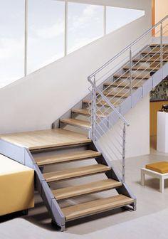 Quarter-turn staircase / metal frame / wooden steps / lateral stringer IRON Escalkit
