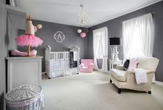 Contemporary girls' nursery in gray with stylish pops of pink [From: Lisa Petrole Photography]