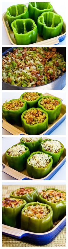 pinner says: Turkey-Stuffed Bell Peppers. I did this and they turned out so yummy :) I did not use seasoned sausage, I added my own spices to the turkey meat (garlic power, italian seasonings, salt, and pepper). Turkey Recipes, Beef Recipes, Cooking Recipes, Healthy Recipes, Recipies, I Love Food, Good Food, Yummy Food, Great Recipes