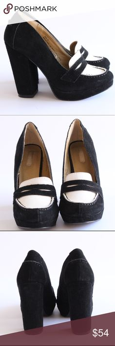 Urban Outfitters Suede Saville Platform Loafers Urban Outfitters Cooperative Suede Saville Black and white platform Loafers with a block heel. Excellent used condition. Size 6. No modeling and no trades. Please feel free to ask any questions. Cooperative Shoes Heels