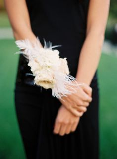 interesting, corsage instead of a bouquet.a swoon-worthy wrist corsage complete with white feathers Cute Wedding Dress, Fall Wedding Dresses, Colored Wedding Dresses, Perfect Wedding, Bridesmaid Corsage, Corsage Wedding, Prom Corsage, Flower Corsage, Wedding Bridesmaids