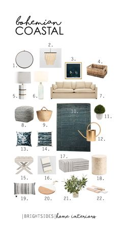 Brightsides Home Interiors: Bohemian Coastal Deals Home Decor Inspiration, Coastal Decor, Interior, Coastal Chic Decorating, Cozy House, Beach House Interior, House Interior, Mood Board Design, Coastal Interiors Design