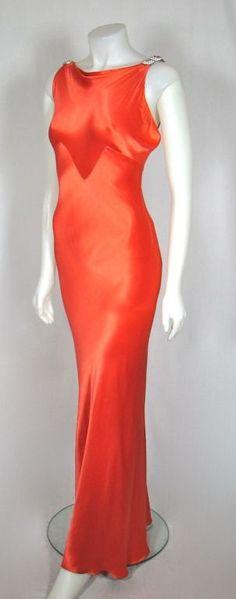 Silk satin bias-cut evening dress with rhinestone shoulder clasps, 1930s