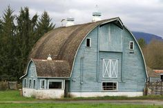 Pretty slate blue barn in the country...