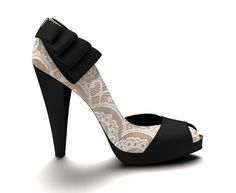 "#4 design Shoes of Prey. 4.5"" square platform heel, back ruffle, black and gold silk, lace overlay."