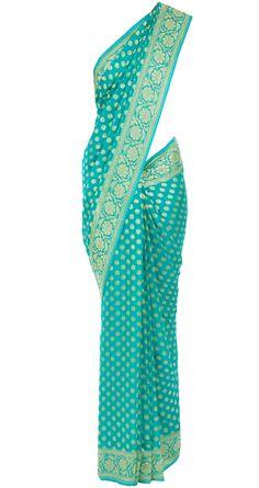 Sea green and gold banarasi sari available only at Pernia's Pop-Up Shop.