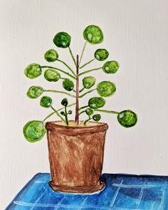 pilea plant watercolor illustration Plant Health, Watercolor Plants, Watercolor Illustration, Planter Pots, Illustrations, How To Make, Painting, Illustration, Painting Art