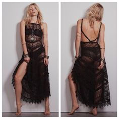 Free People Black Lace Apron Dress Go for ethereal, boho-chic style with this sheer Free People lace slip dress. Layer it over a bandeau bra and body-con pencil skirt! Polyester/rayon. Machine washable. Sheer lace fabric. Square neckline. Sleeveless, spaghetti straps. Elastic waistband, A-line skirt Pullover style Hits at mid calf. COLOR: Black Free People Dresses Maxi
