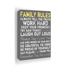 Family Rules Wall Art.