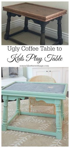 Do you have an outdated ugly coffee table that you want to repurpose? I have the solution, turn your ugly coffee table into a kid's functional play table! Upscale Furniture, Kids Furniture, Painted Furniture, Furniture Projects, Kids Play Table, Kid Table, Small Wood Projects, Cool Diy Projects, Homework Table