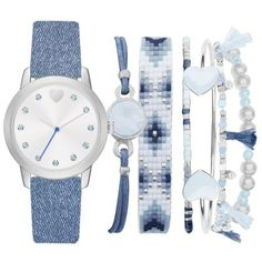 American Exchange Blue Womens Denim Strap Watch And Bracelet Set -... ($30) ❤ liked on Polyvore featuring jewelry, blue and blue jewelry