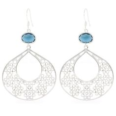 Blue Boho Flowers Oorbellen Zilver ♡ available at www.ibizamusthaves.nl