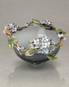 """Jamie"" Hydrangea Glass Bowl, 10"" by Jay Strongwater at Neiman Marcus."