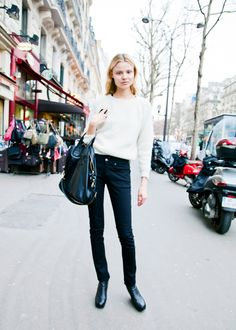 Model off duty street style casual monochrome
