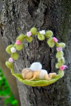 Nursery Ornament Waldorf inspired needle felted: by MagicWool
