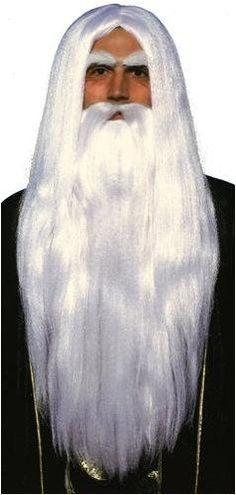 Merlin parta- ja peruukkisetti. Parta ja peruukki -setti käy hyvin myös muiden velhomaisten naamiaisasujen asusteeksi.