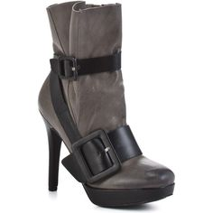 Bacio 61 Women's Esatto - Dust Grey ($150) found on Polyvore featuring shoes, boots, ankle booties, grey, booties, stiletto heels, platform, ankle boots, casual and ankle strap