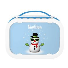 Cool Snowman with Shades and Adorable Smirk with Snowflakes + your text | Light Blue Yubo Lunch Box by #PLdesign #snowman #CoolSnowman #WinterGift