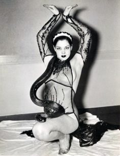1950s burlesque snake dancer