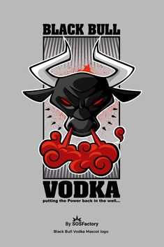 Cartoon logo design for Black Bull Vodka. Skateboard Logo, Skateboard Design, Pet Logo, Monogram Logo, Whiskey Logo, Craft Beer Labels, Bull Logo, Cartoon Logo, Logo Design