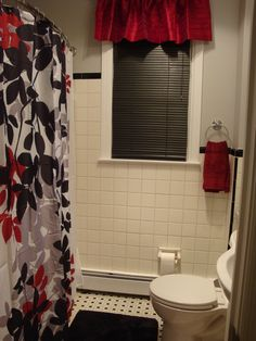 Black, red, gray & white bathroom. I love it!