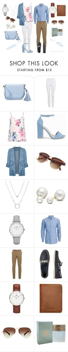 """""""Women and Men #1 SUMMER"""" by chachalapin on Polyvore featuring Kate Spade, Topshop, Dorothy Perkins, Nly Shoes, Evans, Allurez, Brioni, TravelSmith, Daniel Wellington et Sandqvist"""
