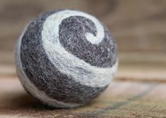 Needle felted ball made of Jacob sheep's wool by Good Wool, etc., Thompson's Station, TN