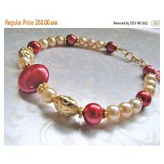 SALE Luxe Red Coin Pearl Bracelet, Champagne Freshwater Pearl... ($44) ❤ liked on Polyvore featuring jewelry, bracelets, beaded bangles, red bead jewelry, rolled gold bangle, red jewelry and fresh water pearl jewelry